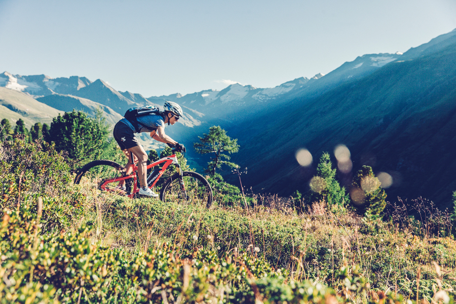 e-bike going downhill in the mountains