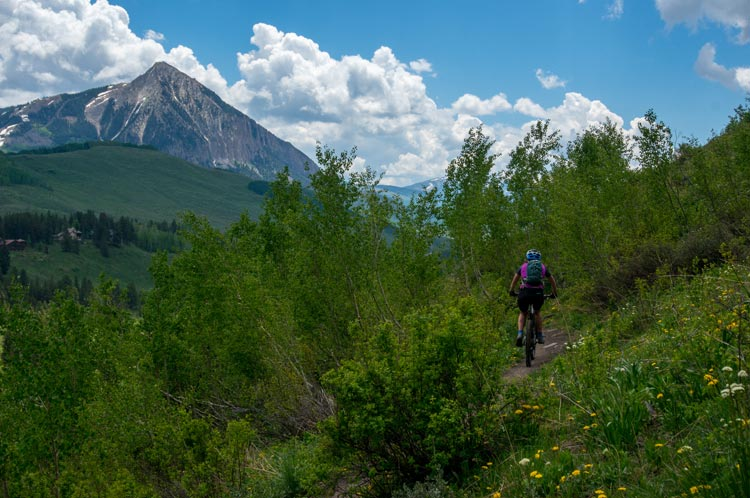 Mountain Biking back along the Upper Lower Loop with Crested Butte Mountain in view.