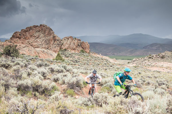 Bikers outrunning a storm at Hartman's