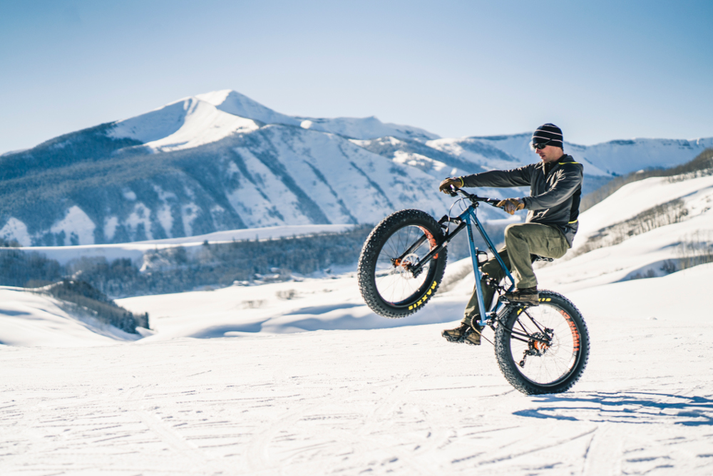 wheelie riding during fat bike world championships crested butte colorado