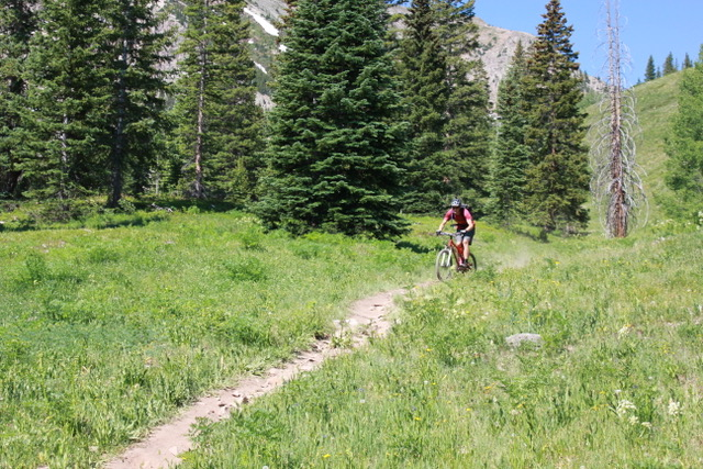 downhill on green lake trail crested butte