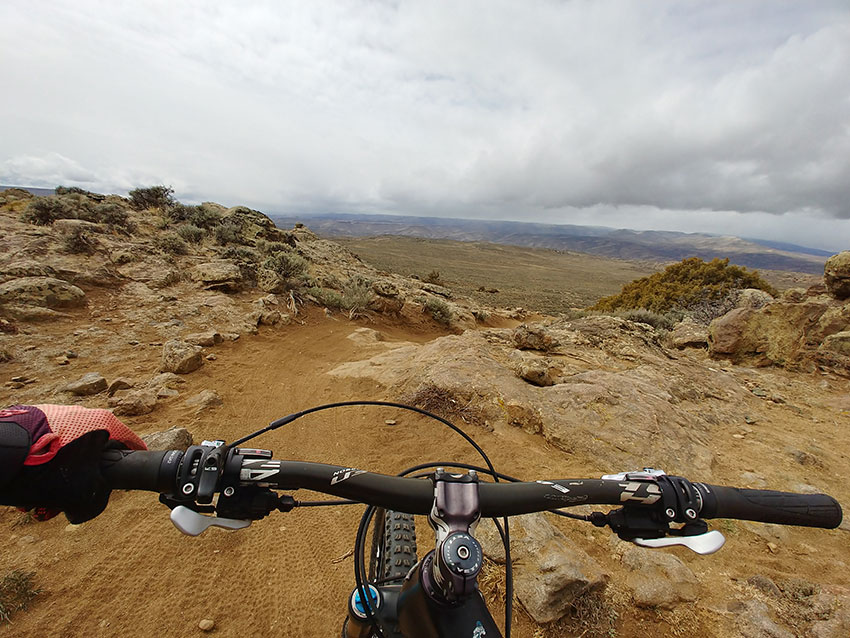 POV from bike on a desert trail at Hartman Rocks