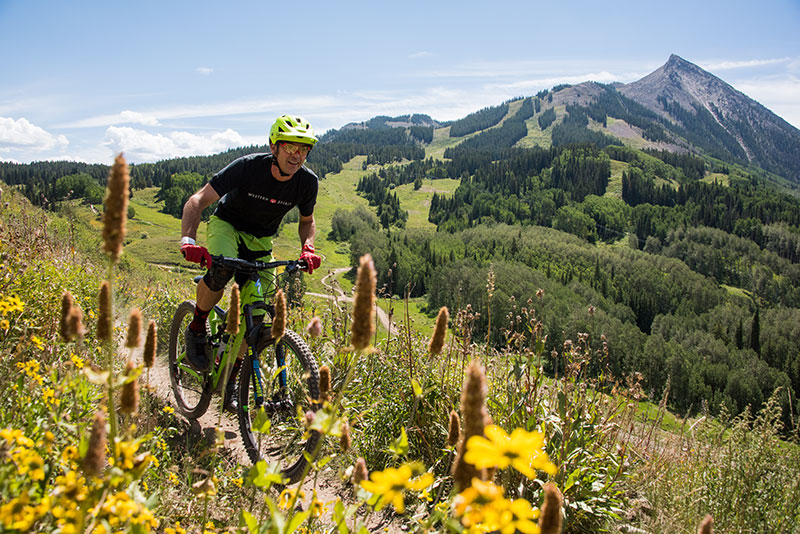 Outerbike organizer checking out the trails on Crested Butte Mountain Bike Park