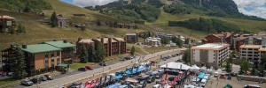 Outerbike vendor village in Mt. Crested Butte as shot from the air.